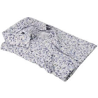 Rosso Milano Italy Men's Flower-printed European Modern-fit Dress Shirt
