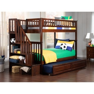 Woodland Staircase Bunk Bed Twin over Twin with Twin Size Raised Panel Trundle Bed in Walnut