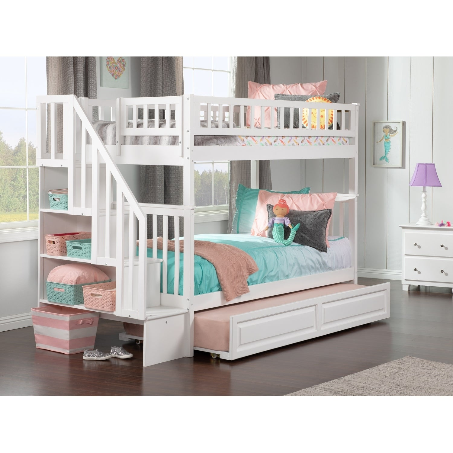 Picture of: Shop Woodland Staircase Bunk Bed Twin Over Twin With Twin Size Raised Panel Trundle Bed In White Overstock 13049059