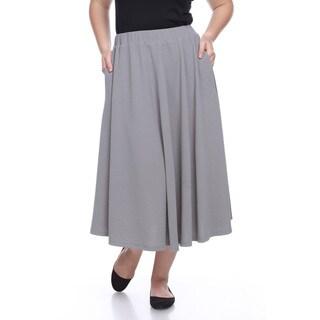 Women's 'Tasmin' Grey Polyester/Spandex Flare Skirt