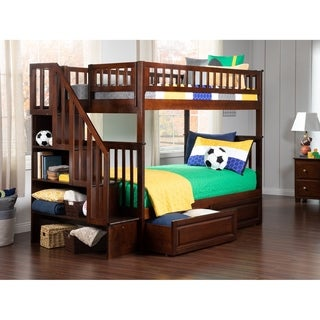 Woodland Staircase Bunk Bed Twin over Twin with 2 Raised Panel Bed Drawers in Walnut