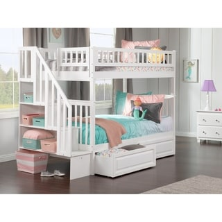 Woodland White Twin-over-twin Staircase Bunk Bed with Bed Drawers