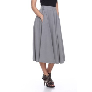 White Mark Women's Tasmin Red/Grey/Purple Polyester/Spandex Midi Skirt