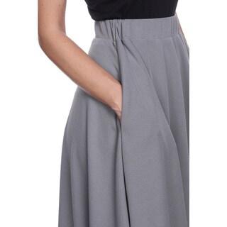 White Mark Women's Tasmin Red/Grey/Purple Polyester/Spandex Midi Skirt