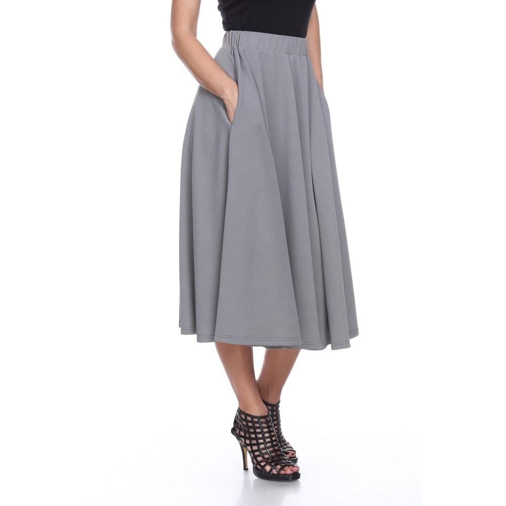 White Mark Womens Tasmin Red/Grey/Purple Polyester/Spandex Midi Skirt