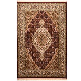 Herat Oriental Indo Hand-knotted Tabriz Wool & Silk Rug (2'10 x 4'3)
