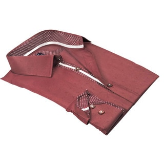 Rosso Milano Italy Men's Red Cotton-blend Jacquard European Modern-fit Dress Shirt