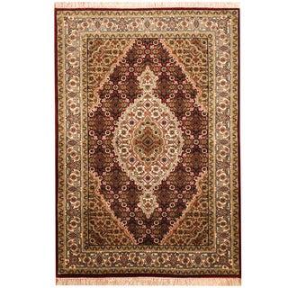 Herat Oriental Indo Hand-knotted Tabriz Wool & Silk Rug (2'9 x 4')