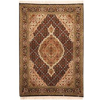 Herat Oriental Indo Hand-knotted Tabriz Wool & Silk Rug (2'10 x 4'1)