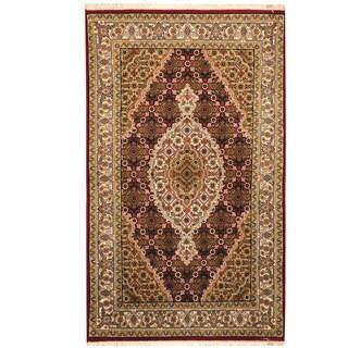 Herat Oriental Indo Hand-knotted Tabriz Wool & Silk Rug (2'8 x 4'5)
