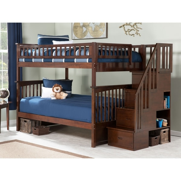Advantages And Drawbacks Of Strong Wooden Loft Bed With Stairs Columbia Staircase Bunk Bed Full over Full in Walnut
