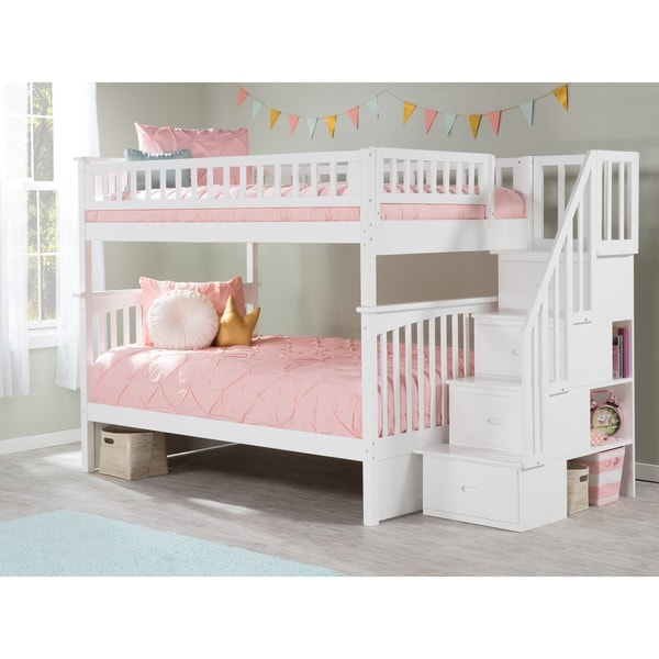 Shop Columbia Staircase Bunk Bed Full Over Full In White