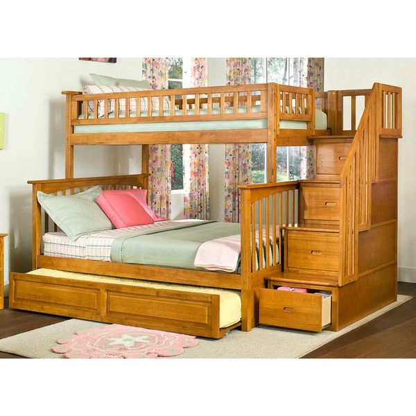 Shop Columbia Caramel Latte Twin Over Full Staircase Bunk