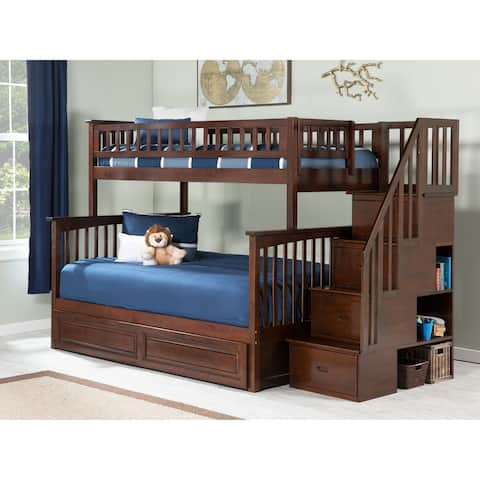 Columbia Staircase Bunk Bed Twin over Full with Twin Size Raised Panel Trundle Bed in Walnut