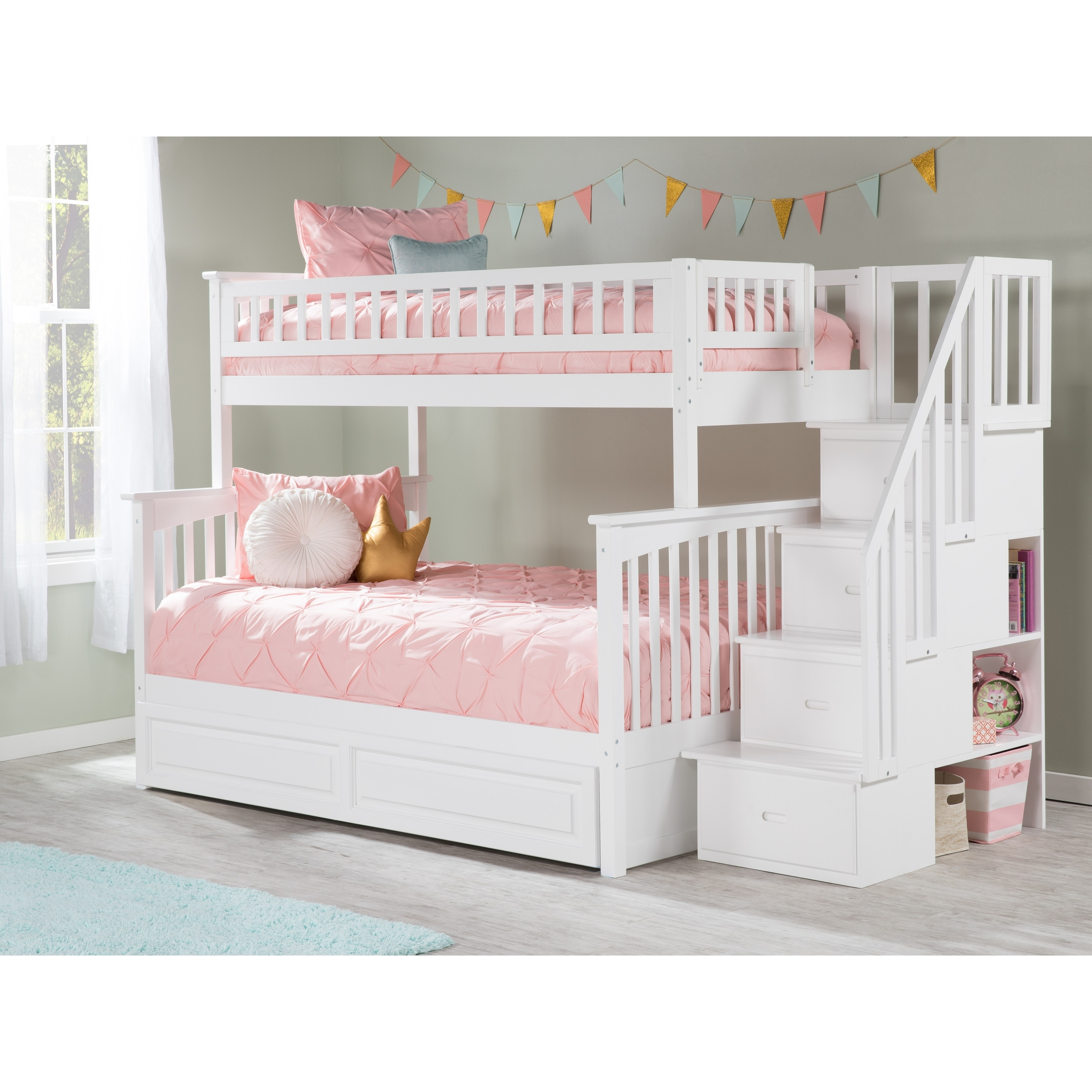 Picture of: Columbia Staircase Bunk Bed Twin Over Full With Twin Size Raised Panel Trundle Bed In White Overstock 13049111
