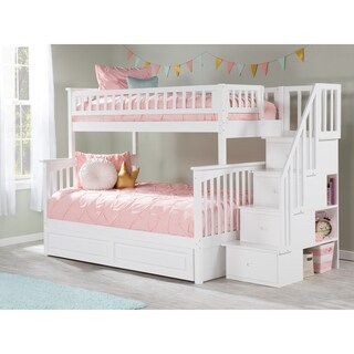 Columbia Staircase Bunk Bed Twin over Full with Twin Size Raised Panel Trundle Bed in White