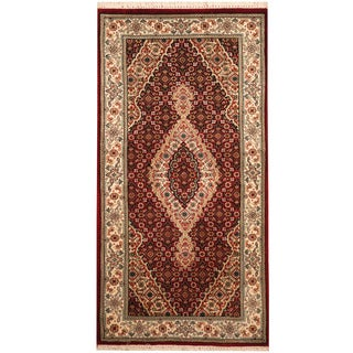 Herat Oriental Indo Hand-knotted Tabriz Wool & Silk Rug (2'4 x 4'7)
