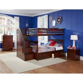 Columbia Staircase Bunk Bed Full over Full with Flat Panel Bed Drawers in Walnut