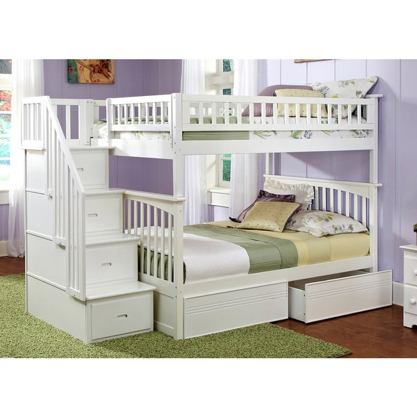 Columbia Staircase Bunk Bed Full over Full with Flat Panel