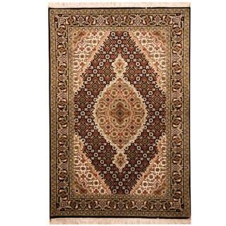Herat Oriental Indo Hand-knotted Tabriz Wool & Silk Rug (2'9 x 4'1)