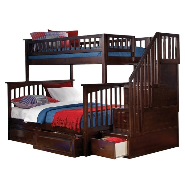 Shop Columbia Staircase Bunk Bed Twin Over Full With 2 Raised Panel