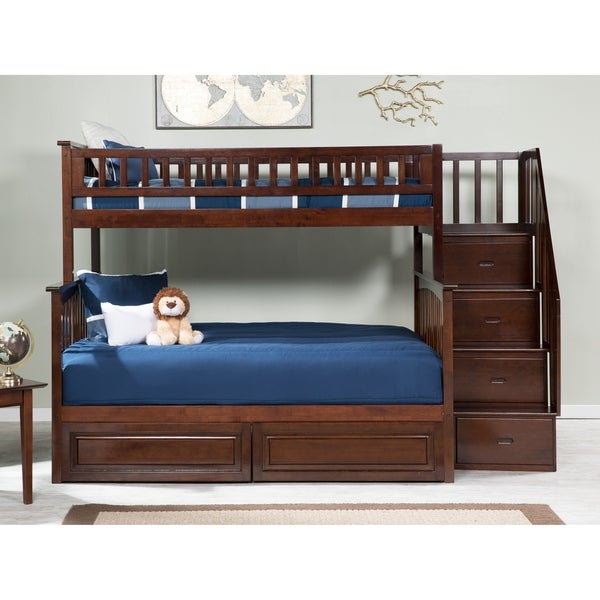 Columbia Staircase Bunk Bed Twin over Full with 2 Raised Panel Bed Drawers in Walnut