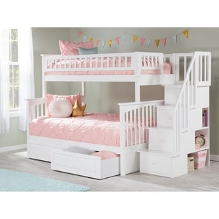 Columbia Staircase Bunk Bed Twin over Full with 2 Raised Panel Bed Drawers in White