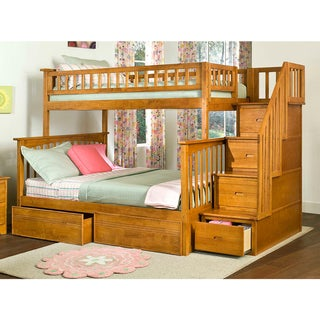 Columbia Staircase Bunk Bed Twin over Full with Flat Panel Bed Drawers in Caramel Latte