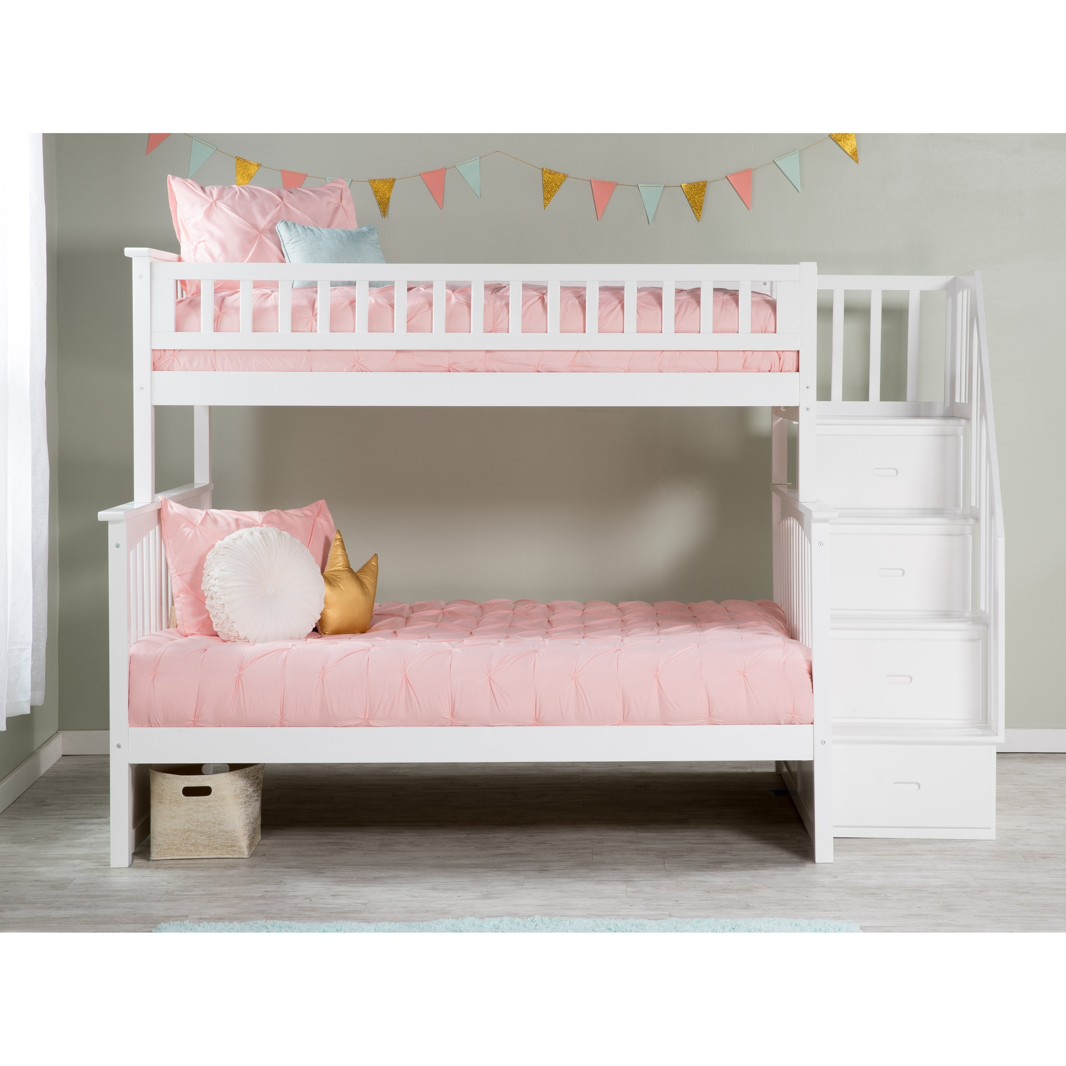 Shop Columbia Staircase Bunk Bed Twin Over Full In White Overstock 13049140