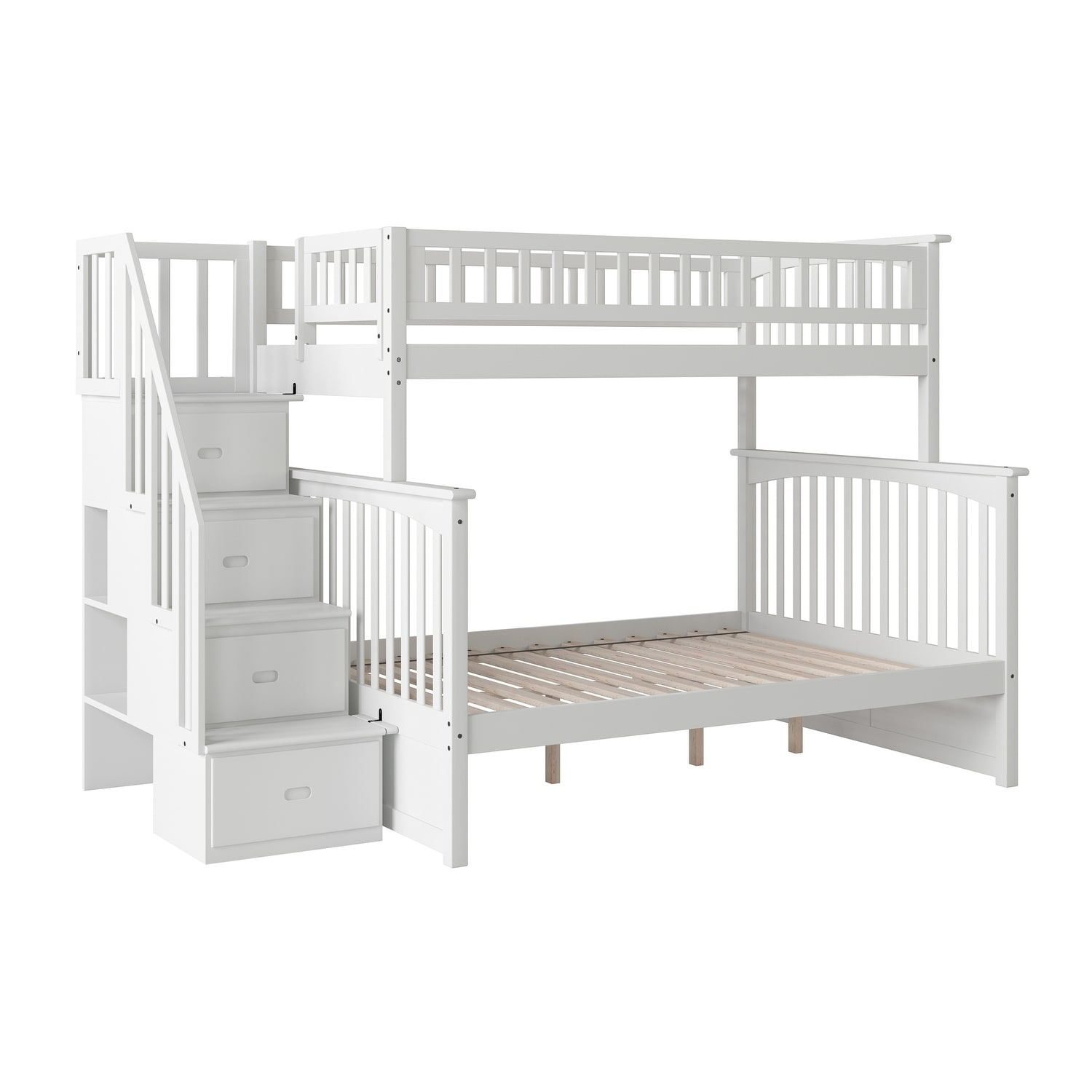 Picture of: Shop Columbia Staircase Bunk Bed Twin Over Full In White Overstock 13049140