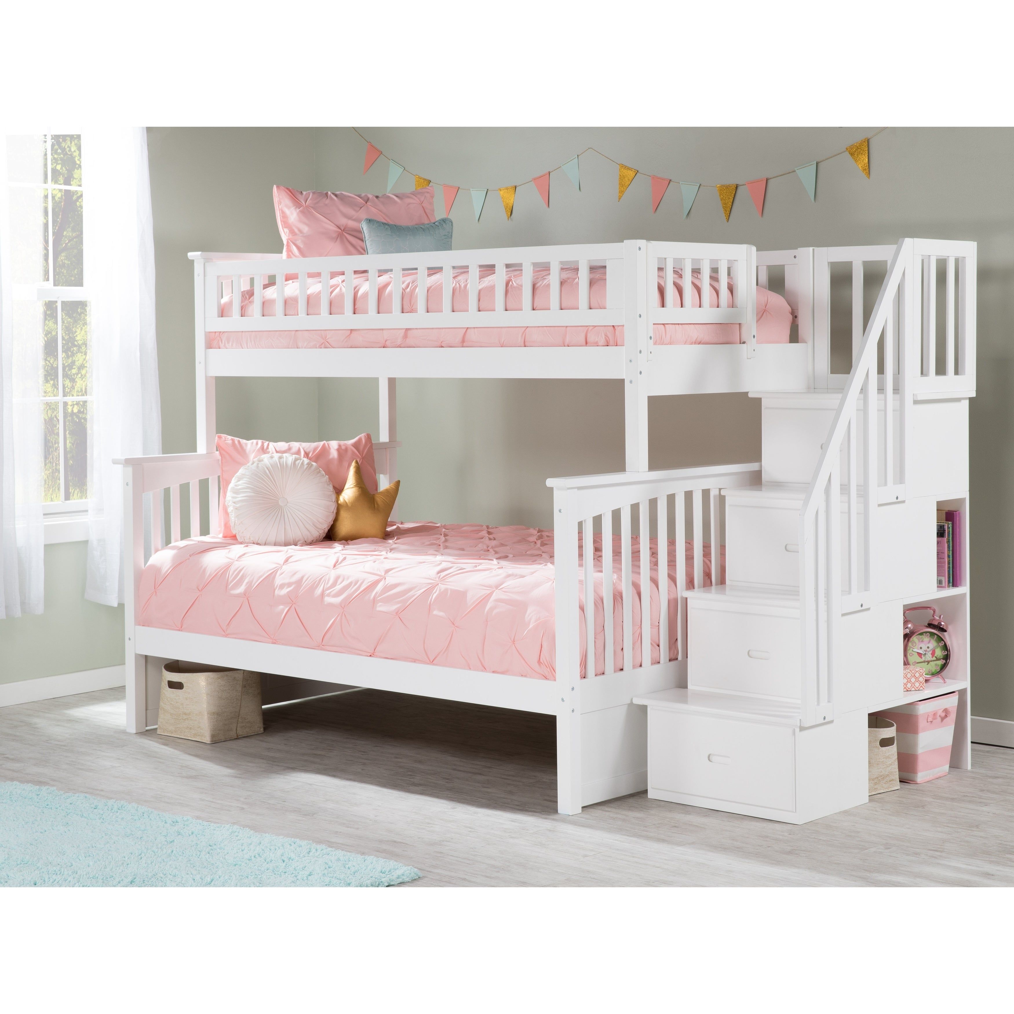 Atlantic Furniture Columbia Staircase Bunk Bed Twin over ...