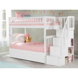 Columbia Staircase Bunk Bed Twin over Twin with Twin Size Raised Panel Trundle Bed in White