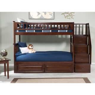 Columbia Staircase Bunk Bed Twin over Twin with 2 Raised Panel Bed Drawers in Walnut