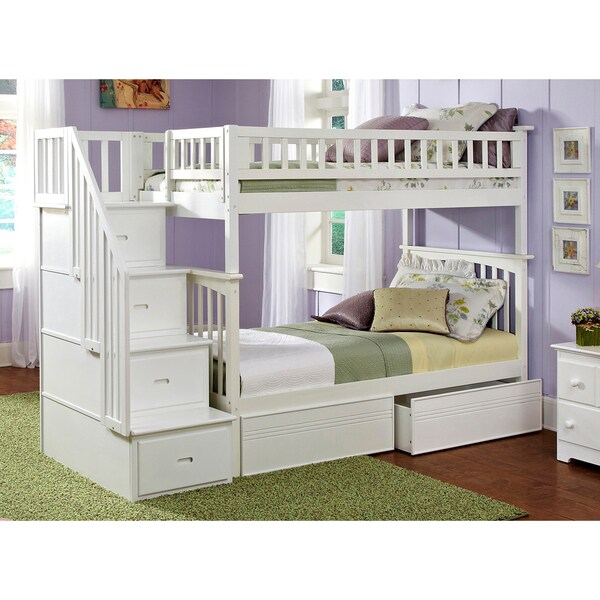 shop columbia white twin over twin staircase bunk bed with panel bed drawers on sale free. Black Bedroom Furniture Sets. Home Design Ideas