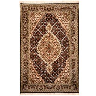 Herat Oriental Indo Hand-knotted Tabriz Wool & Silk Rug (2'9 x 4'2)