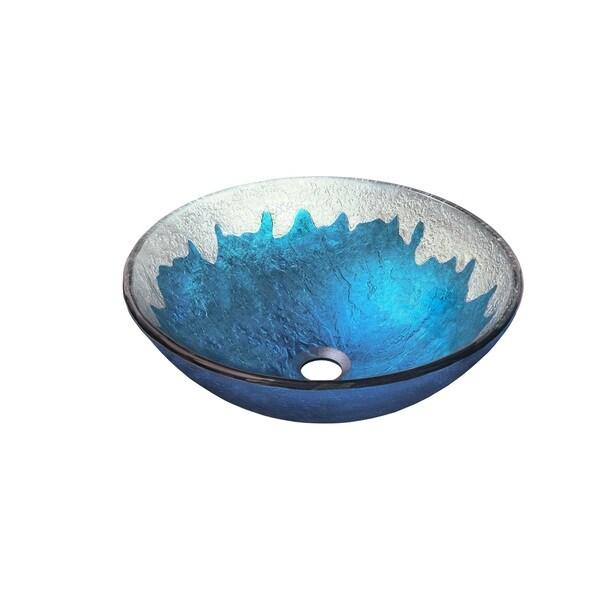 Novatto DIACCIO Blue/Silver Glass Vessel Bathroom Sink Pack with Oil-rubbed Bronze Finish