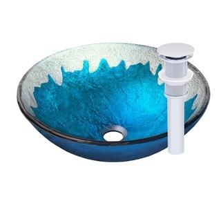 Novatto Diaccio Chrome Glass Vessel Bathroom Sink Pack
