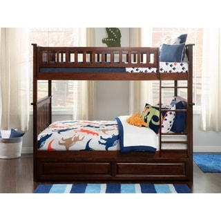 Columbia Full-over-Full Bunk Bed with Trundle Bed in Walnut