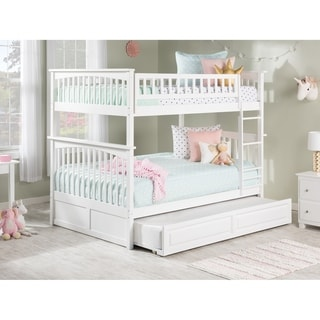 Columbia Bunk Bed Full over Full with Twin Size Raised Panel Trundle Bed in White