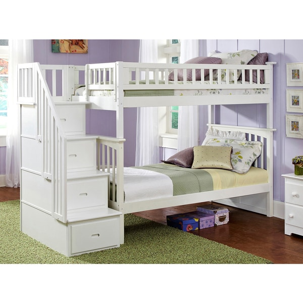 Shop Columbia Staircase Bunk Bed Twin Over Twin In White