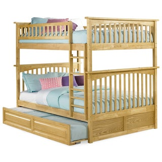 Columbia Natural Full over Full Bunk Bed with Raised Panel Trundle Bed