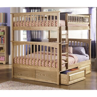 Columbia Natural Full-over-full Bunk Bed with Panel Drawers