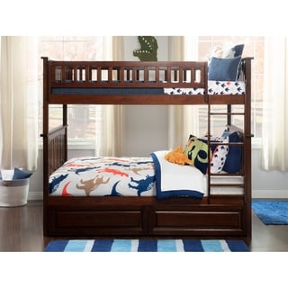 Columbia Bunk Bed Full over Full with 2 Raised Panel Bed Drawers in Walnut