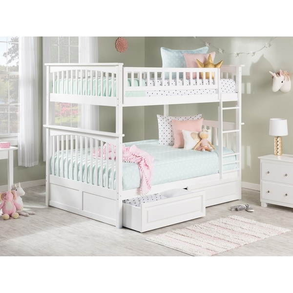 Columbia Bunk Bed Full over Full with 2 Raised Panel Bed Drawers in White