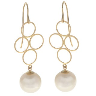Pearls For You Women's 14K Yellow Gold 8 to 8.5-millimeter White Freshwater Pearl Circle Dangle Earrings