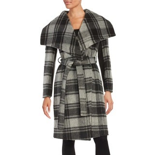 BCBGeneration Women's Grey Plaid Wool/Nylon Wrap Coat