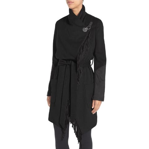 BCBGeneration Black Mixed Media Frige Wrap Trench Coat
