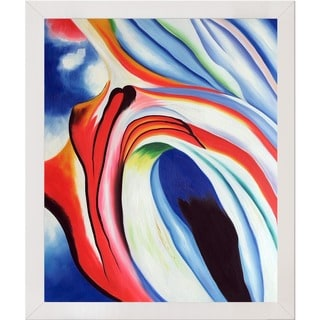 Georgia O'Keeffe 'Music Pink and Blue, 1918' Hand Painted Framed Canvas Art