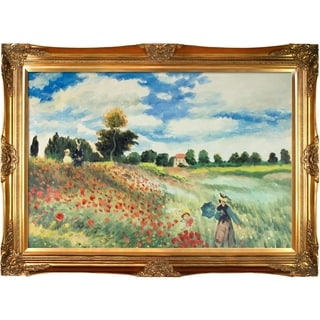 Claude Monet 'Poppy Field in Argenteuil' Hand Painted Framed Canvas Art