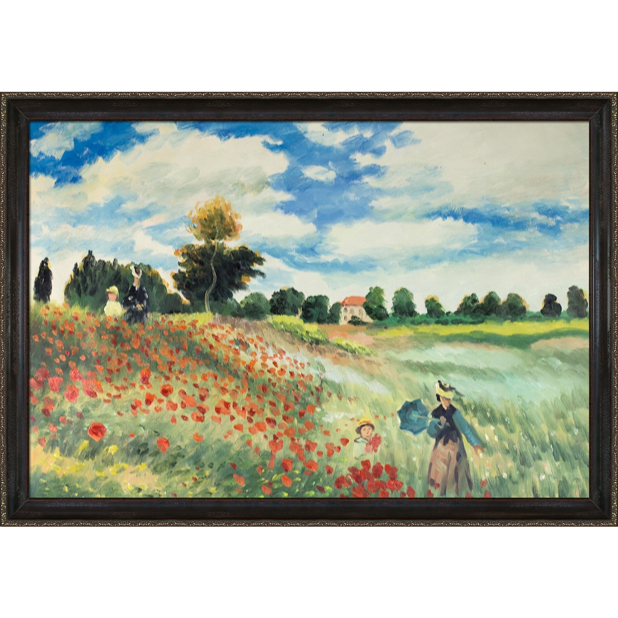 Claude Monet Poppy Field In Argenteuil Hand Painted Framed Canvas Art On Sale Overstock 13049238